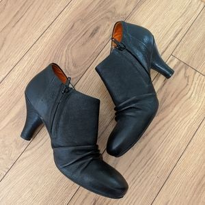 Fly London black leather booties